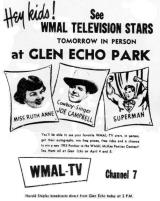 WMAL-TV Ad for Glen Echo appearance, April 5th, 1953