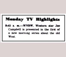 TV Highlight in Post TV Section of 6.13.54
