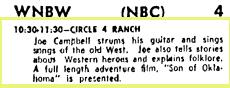 Circle 4 Ranch TV Listing, 10.3.54 Washington Post and Times Herald