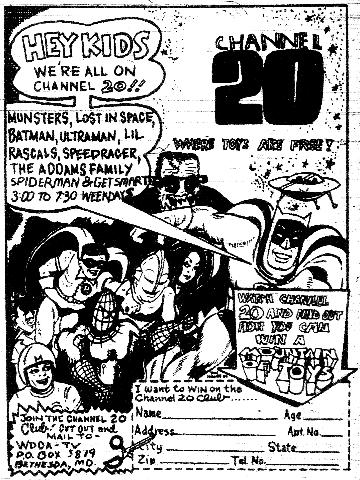 Channel 20 Club ad (Washington Post TV Magazine, 10/4/70)