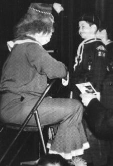 Cousin Cupcake greets Cub Scout Skip McCloskey (early 1960s)