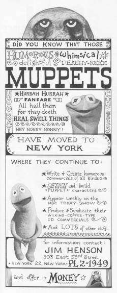 Muppets Move To  NYC ad from 1963 AFTRA Directory (Donated By Skip McCloskey)