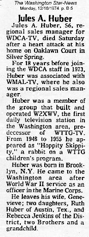 Jules Huber's Obituary, Washington Star-News, Monday 12/16/74
