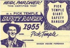 Pick's 1955 Safety Ranger Card (Front)