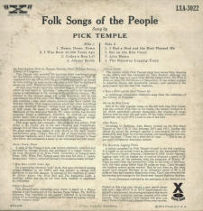 Folk Songs of the People album by Pick Temple (Back)