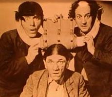The Three Stooges (l to r; Moe, Shemp, Larry)