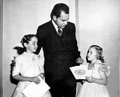 Teresa Johnson meets V.P. Nixon, c. 1955 (Photo provided by Billy Johnson, All Rights Reserved)