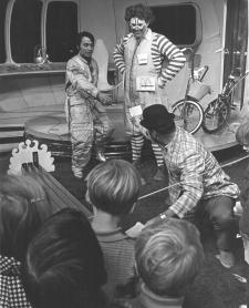 Willard Scott (as Ronald McDonald) visits Captain 20 (John Kallimonis) c. 1969