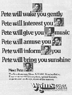 Washingtonian Magazine March 1977 Ad for Pete's WGMS Radio show (Donated by Dave Statter)