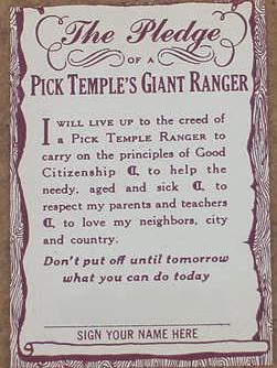 Pick Temple 's Giant Rangers Pledge Card (Back)