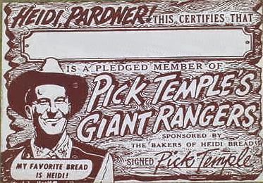 Pick Temple 's Giant Rangers Pledge Card (Front)