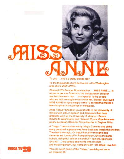 Miss Anne's Romper Room, WDCA-20 Sales Flyer