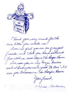Letter From Miss Barbara to Linda Bolick (Courtesy:LINDA BOLICK)